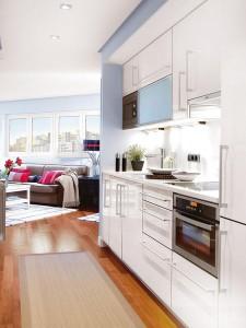 thiet ke phong bep 225x300 Thiết kế nội thất sáng tạo trên mảnh đất méo